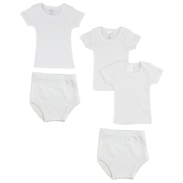 White Infant T-Shirts and Training Pants - 5 Pack
