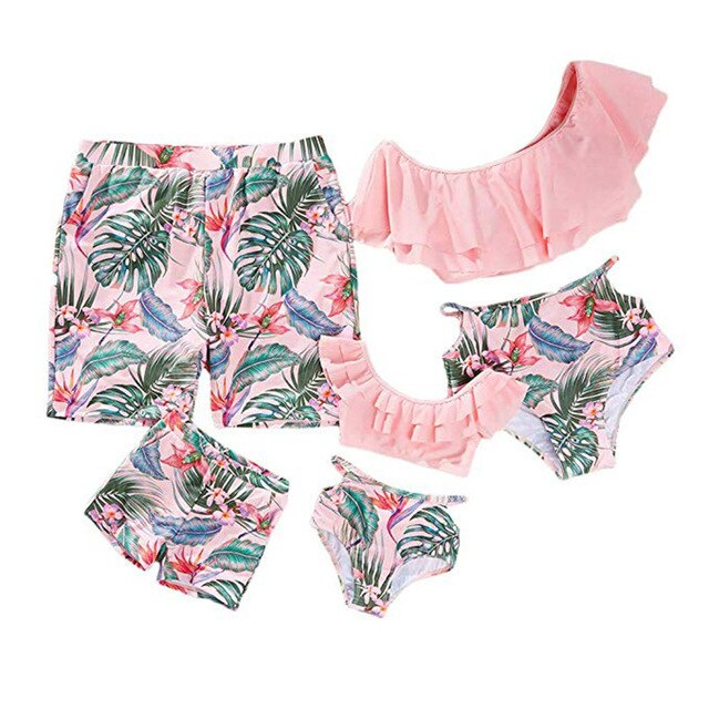 Pink Tropical Swimsuits For The Whole Family