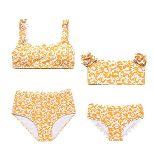 Mom & Daughter Floral Print Yellow Bikini