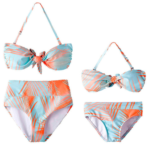 Floral Print High Waisted Bikini For A Mother & Daughter