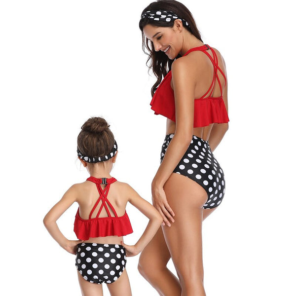 High Waisted Black Polka Dot Swimsuits For A Mother & Daughter