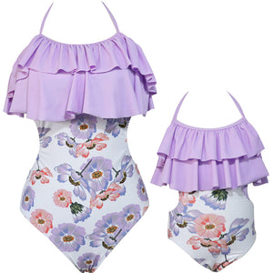 Ruffled One Piece Swimsuit For A Mother & Daughter