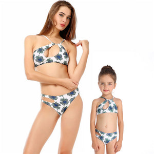 Mother & Daughter Floral Green and Blue Swimsuit