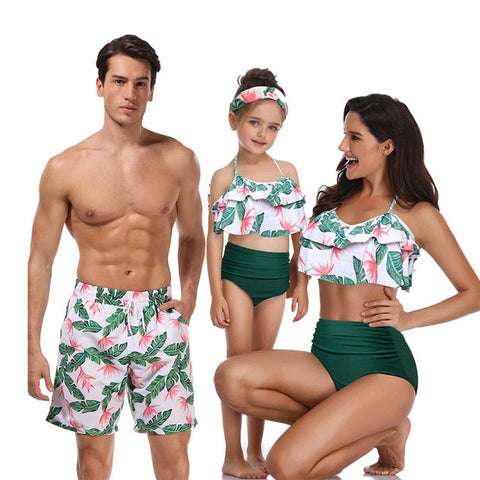Tropical Matching Swimsuits For The Whole Family