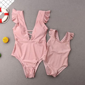 Solid Pink Mother & Daughter Swimsuit