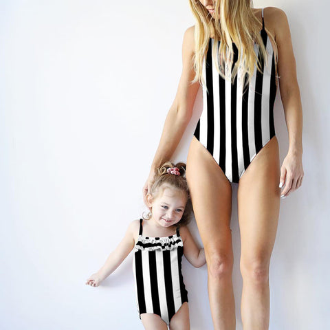Striped Mother & Daughter Matching Swimsuits