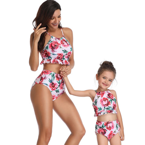 Pink Floral High Waisted Matching Swimsuits For Mother & Daughter
