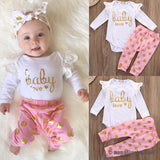 'Baby Love' Baby Girls Clothes Set Romper Long Sleeve Cotton Pants Jumpsuit Bodysuit