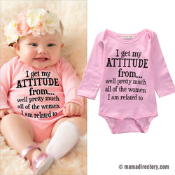 'Attitude'!' Baby Girl pink Long Sleeve Cotton Bodysuit Jumpsuit  0-18M