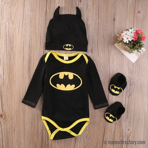 Bat Baby Romper Onesie + Bat Hat + Booties