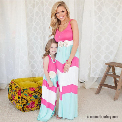 Striped Mother & Daughter Matching Summer Maxi Dresses