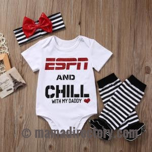 ESPN and Chill with My Daddy Baby girls outfit Romper Jumpsuit Leg Warmers Headband