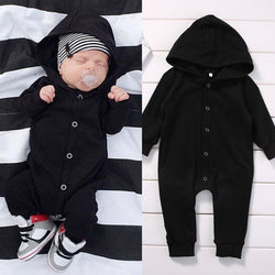 Button Hooded Winter Long Sleeve Romper Jumpsuit