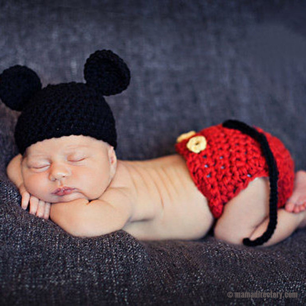 Newborn Baby Mouse Crochet Knit Costume Photo Photography Prop Girls Boys Outfits