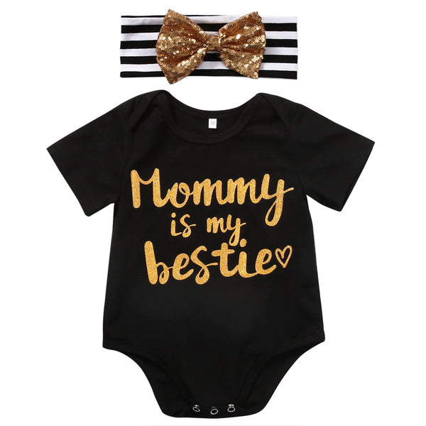 "2PC ""Mommy is the Bestie"" Newborn Baby Girl Short Sleeve Romper + Bow Set"