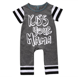 'Kiss Your Mama' Striped Short Sleeve Romper Jumpsuit