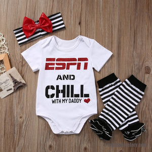 ESPN and Chill with My Daddy Baby Girls 3 Piece Outfit