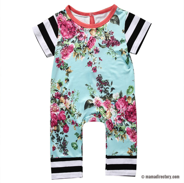 Girls Floral and Stripes Short Sleeve Jumpsuit