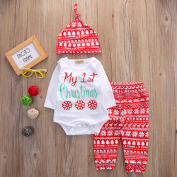 'My 1st Christmas' 3pcs Long Sleeve Romper, Leggings & Hat Set