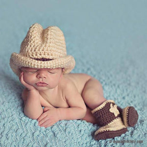 'Cowboy' Newborn Photography Props Baby Crochet Knit Cowboy Costume Hat + Shoes