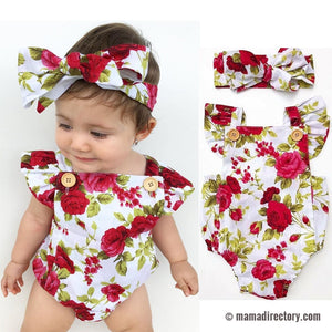 Red & White Floral Baby Romper & Headband Set
