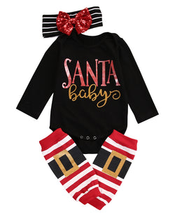 Christmas 'Santa Baby' Girls Romper Jumpsuit + Headband + Leg Warmers Outfit
