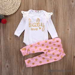 'Baby Love' 2pc Set Long Sleeve Romper & Pants
