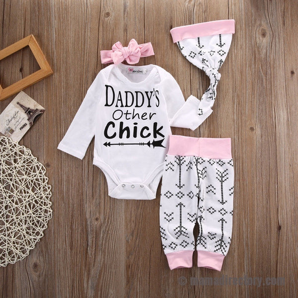 'Daddy's Other Chick' 4pcs Romper + Pants + Bow + Hat