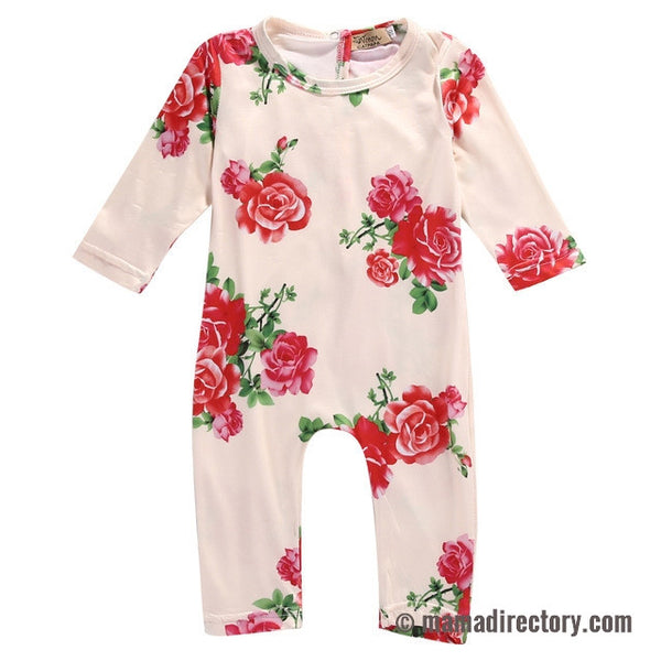 Pink Rose Printed Baby Girl Jumpsuit