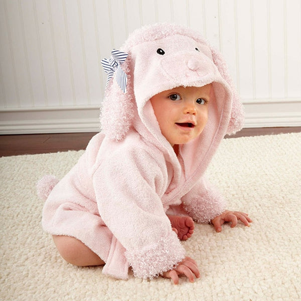 Shark, Owl, Fox, or Poodle Hooded Baby Bathrobe