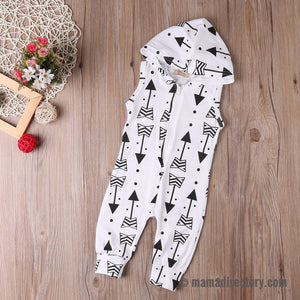 White Arrow Printed Sleeveless Hooded Jumpsuit