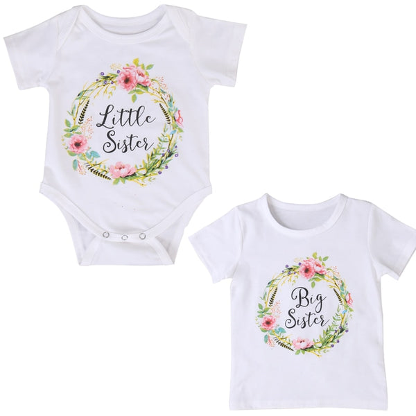 Big Sister & Little Sister Short Sleeve T-Shirt or Romper Matching Sister Outfit