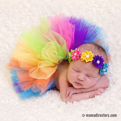 Newborn Photography Props Rainbow Baby Handmade Tutu and Headband