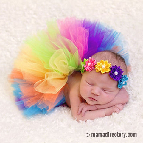 Newborn Photography Props Rainbow Baby Handmade Tutu Skirt And Headband