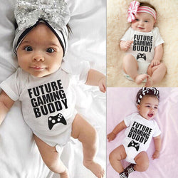 'Future gaming buddy' Baby Cotton Jumpsuit Bodysuit 0-18m