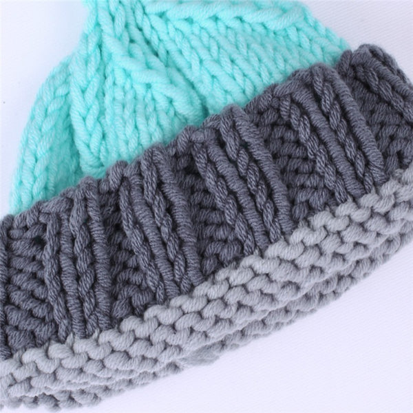 Newborn Baby Blue & Gray Crochet Knitted Wool Hat & Pants Costume for Photography