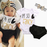 Baby Girl Im so fancy Bodysuit headband and Shorts Outfit Set