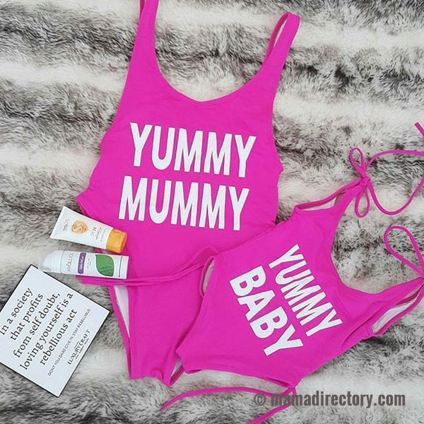 'Yummy Mummy' & 'Yummy Baby' Mother & Daughter Matching Swimsuits