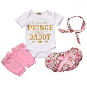 'I Found My Prince - His Name is Daddy' 4pc Romper, Bloomers, Leg Warmers & Headband Outfit Set