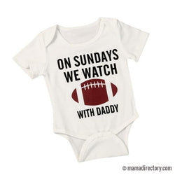 'On Sundays We Watch Football' Short Sleeve Baby Romper Onesie