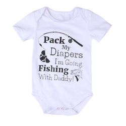 'Pack my diapers I'm going fishing with Daddy' Baby Bodysuit