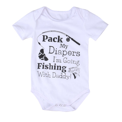 'Pack My Diapers, I'm Going Fishing With Daddy' Short Sleeve Baby Romper Onesie