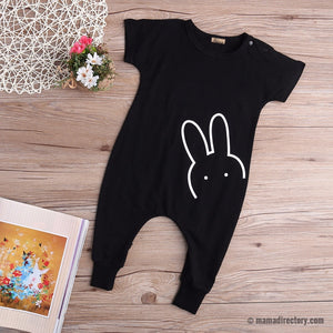 Cartoon Bunny Rabbit Short Sleeve Romper Jumpsuit