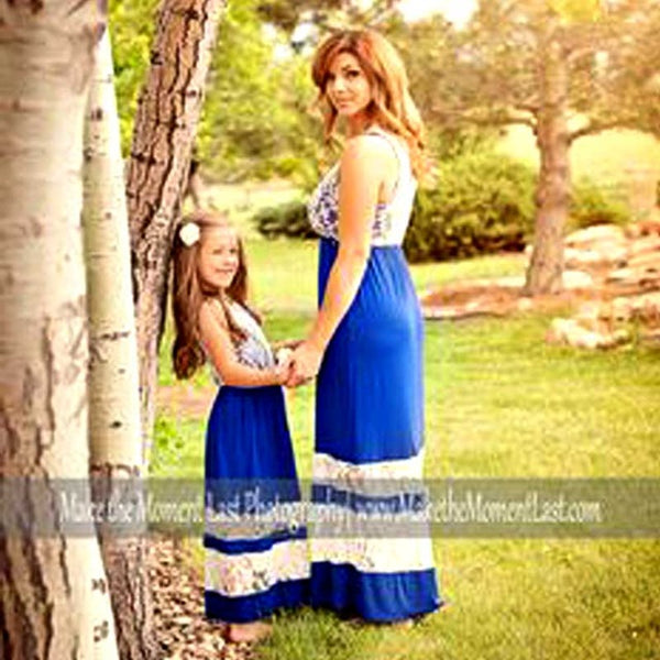 Lace Top Matching Mother & Daughter Summer Maxi Dresses