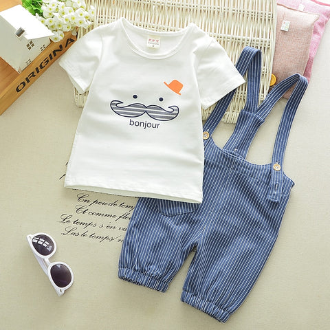 Bounjour Mustache Short Sleeve T-Shirt & Pinstripe Overalls 2pc Set Outfit