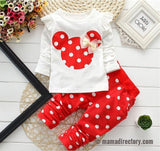 Minnie 2pcs Polka Dotted Long Sleeve Rouched Top & Pants