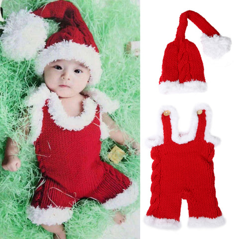 Christmas Newborn Photography Props - Baby Xmas Knit Santa Claus Hat + Romper