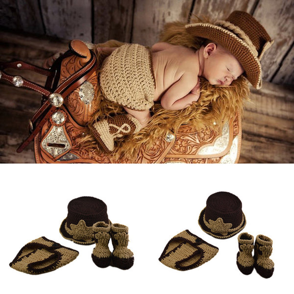 'Sheriff Cowboy' Newborn Photography Props Baby Crochet Knit Costume Hat, Bottoms & Booties
