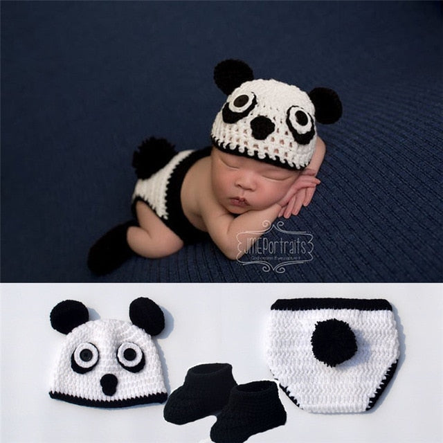 Newborn Baby Panda Crochet Knitted Hat, Bottom & Booties Costume for Photography