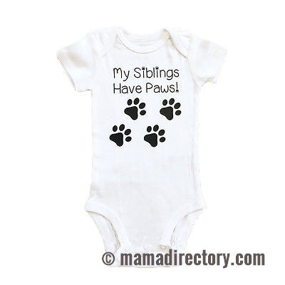 'My Siblings Have Paws' Short Sleeve Baby Romper Onesie